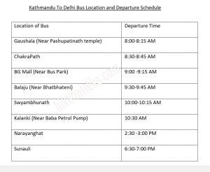 Kathmandu to New Delhi direct bus schedule
