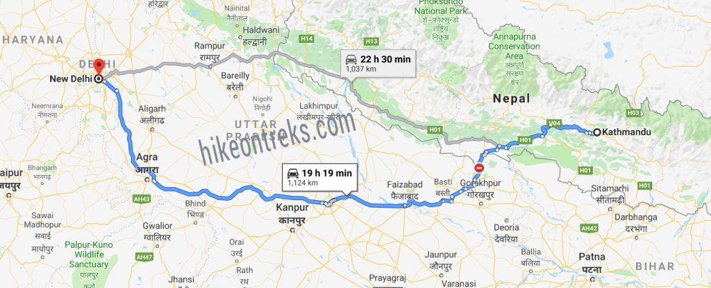 kathmandu-to-delhi-bus-route-map