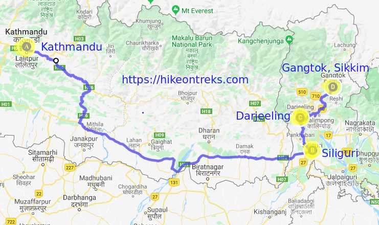 Darjeeling Sikkim Tour Package from Nepal route map